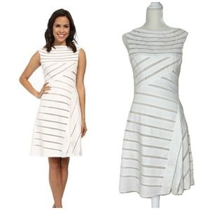 Adrianna Papell White Banded Flared Dress